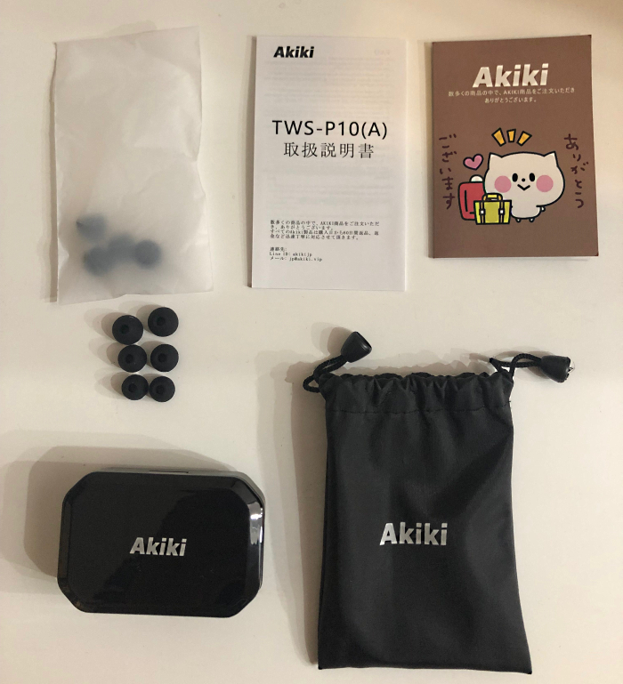 「AKIKI」BluetoothイヤホンTWS-P10商品中身