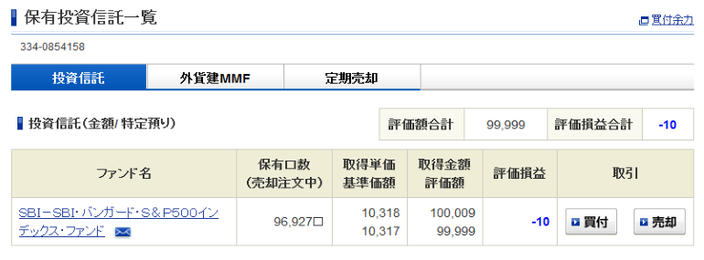 SBI・バンガード・S&P500初回購入